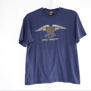 Harley Davidson Blue T-Shirt with Wings and Fire